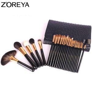 Image 3 - ZOREYA brochas de maquillaje para mujer, conjunto profesional de 24 Uds de pelo de Sable, herramienta de maquillaje para belleza