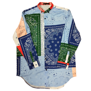 Image 5 - High street Patterned floral shirts men Long sleeve Extra long Red Blue White Loose 2019 Fashion
