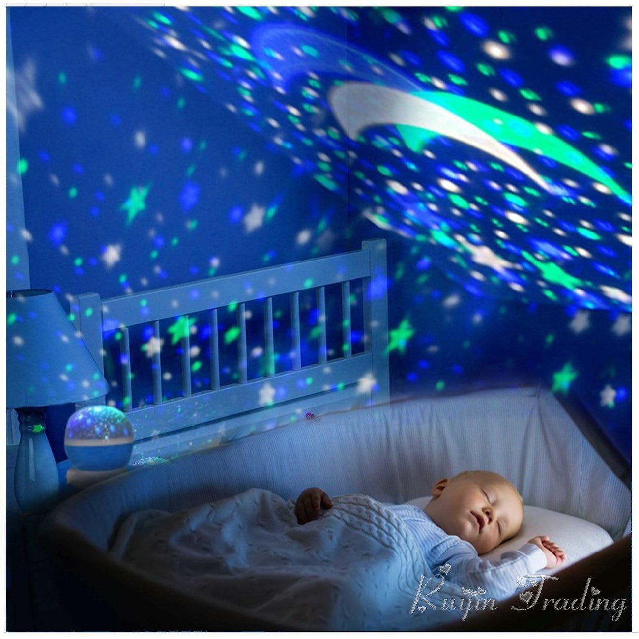 LED estrella proyector novedad iluminación rotación del cielo de la luna del cuarto de niños del bebé luz de la noche con pilas lámpara de emergencia