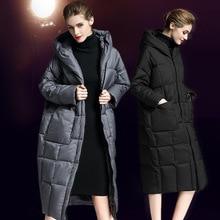 2018 Winter womens down jacket hooded overknee long loose warm coat for women winter W76002