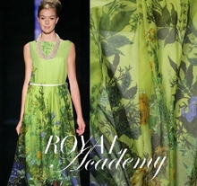 Wholesale&Retail Floral&Grass Printed Silk Chiffon Fabric/Material For DIY Dress/Scarf/Shawl 1 Meter Light Green Color