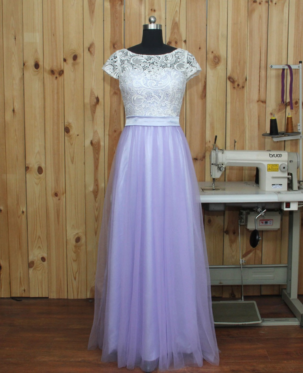 Real sample 2016 lavender tulle lace short sleeves a line floor real sample 2016 lavender tulle lace short sleeves a line floor length formal long bridesmaid dresses custom made in bridesmaid dresses from weddings ombrellifo Image collections