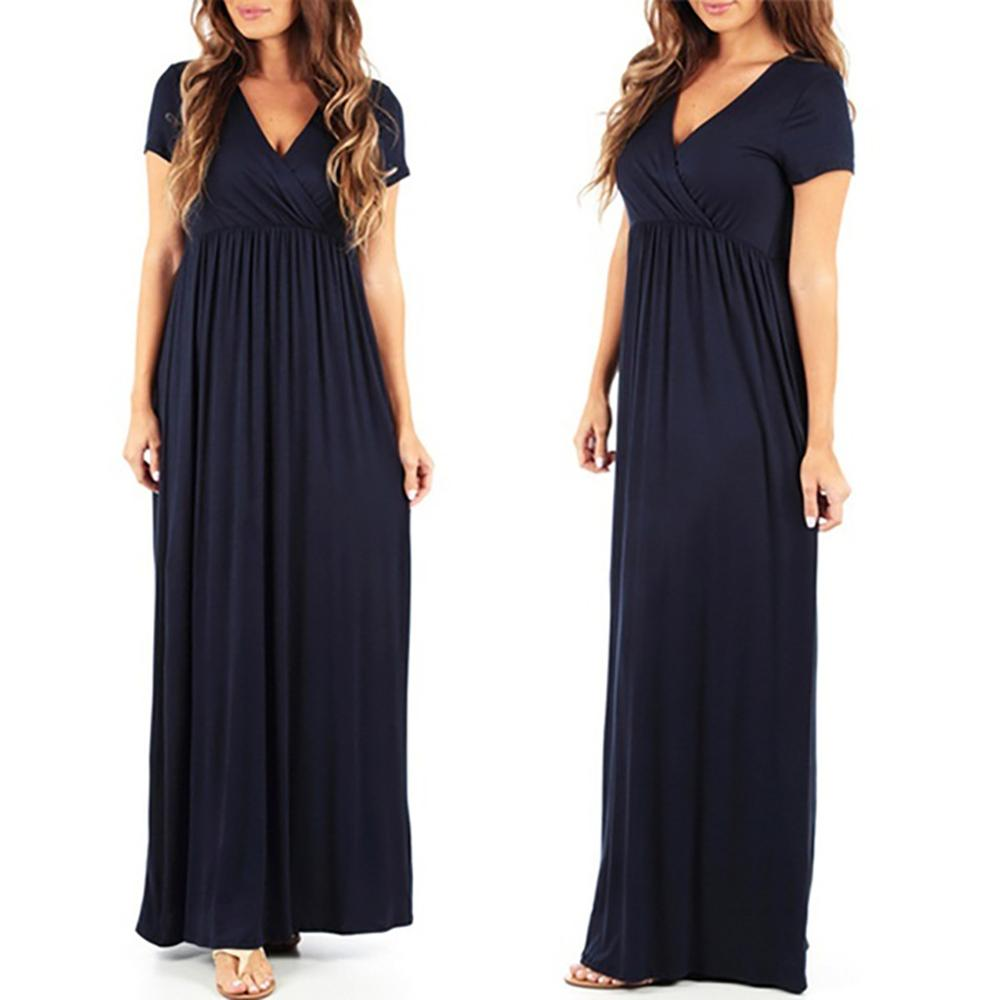 Plus Size S-5XL <font><b>Sexy</b></font> V Neck High Waist <font><b>Short</b></font> Sleeve Maxi <font><b>Dress</b></font> New Solid Casual Stretchy Black <font><b>Red</b></font> Boho Beach Long <font><b>Dress</b></font> Vestido image