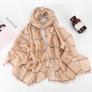 Image 2 - 10pcs Plaids Tartan Cotton Voile Muslim Hijab Scarf For Ladies Long Cross Stripes Double Color Islamic Hijabs Shawl Wrap Scarf