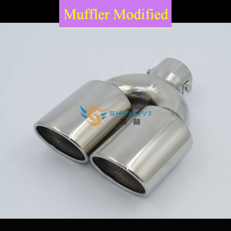 High Quality!Universal Type of Car Rear Stainless Steel Double Out Exhaust Muffler Tips with Circular Mouth for All Cars  HJ3011|Mufflers| |  - title=