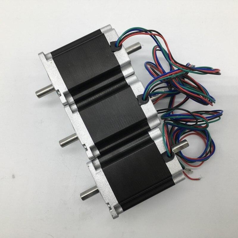 3 pièces Nema23 double arbre moteur pas à pas 57*76mm 3A 1.8Nm 260Oz-in 2ph 4 fils couple élevé pour CNC routeur tour