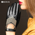 New Arrival 2017 Fashion Genuine Leather Gloves Women Black Solid Wrist Sheepskin Finger Gloves Woven Pattern Free Shipping 789