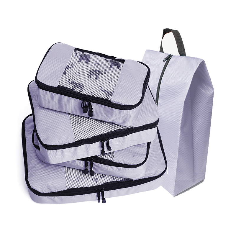 Packing Cubes 3 Set(M)/ 5 (XL/L/M/S/Shoe Bag) Luggage Travel Organizers(Grey)(Red)(Green)(Violet) Overnight Bag Duffle Bags