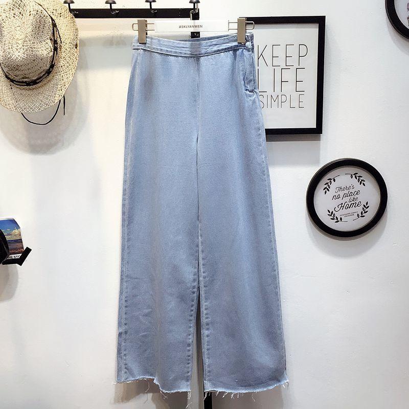 New Fashion Wide Leg Denim Pants Women 2017 Spring Summer High Waist Solid Blue Jeans Casual Loose Trousers Y421 jones new york new solid winter white women s 8 wide leg dress pants $99 346
