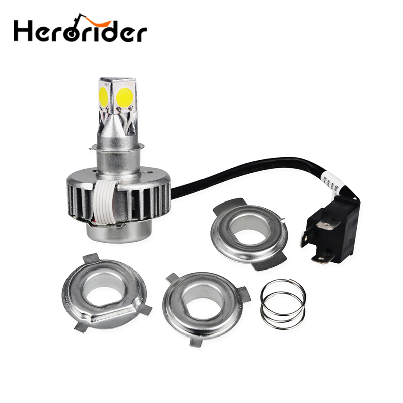 H6 H4 Led Motorcycle Headlight Lamp Bulb Hi Lo Beam 12V Motorbike Headlight Bulbs Ba20d Led Motorcycle light 12/18W skyjoyce mini led projector lens h4 led headlight bulbs led conversion kit h4 led bulb light lamp hi lo beam headlight lhd h4