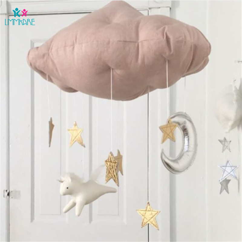 Baby Bedroom Decoration Cloth Cartoon Cloud Wall Hanging Children Game Tent Bed Curtain Matching Decoration Baby Bedding Sets