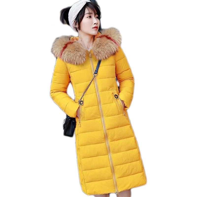 Le Épaissie black Collar Red rice Long Coton D'hiver Black Slim Dousha Couture Femmes A274 Manteau Veste Yellow color Clor Grand color Fourrure Dames yellow Parka Bas Vers tqvHHT