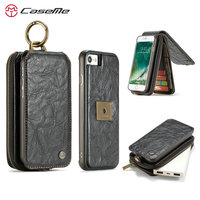 CaseMe Detachable Wallet Case For iPhone 8 Flip Multifunction Purse Phone Case For iPhone 7 All in One Magnetic Card Money Cover