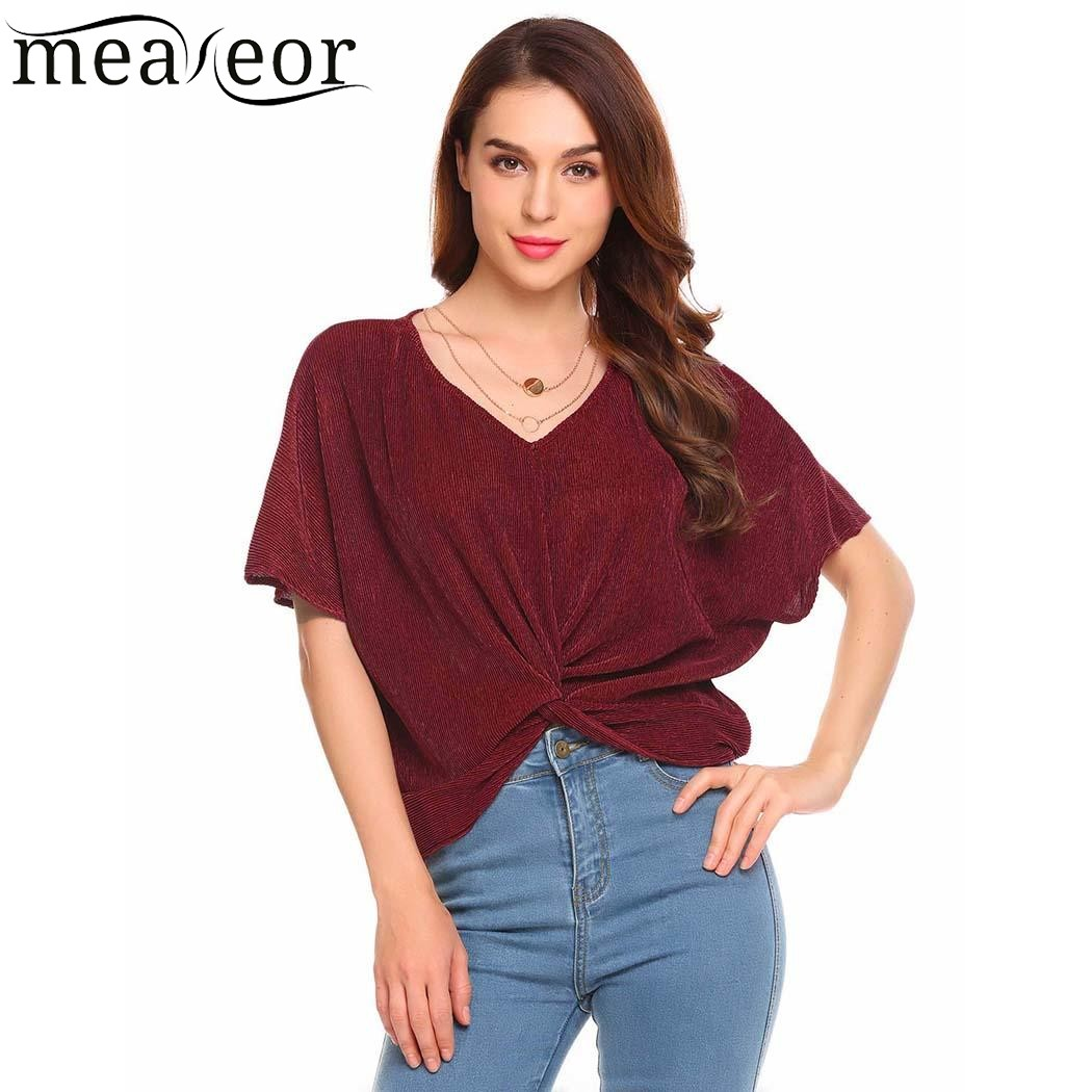 Meaneor Women Casual V Neck Short Sleeve Front Cross Knot Design Solid T Shirt Tops