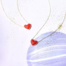 Upscale 925 Silver Red Heart Necklaces Pendants Simple Choker Necklace Jewelry For women girl gift wholesale