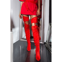 New Winter Yellow Belted Thigh High Chunky Heels Boots Pointed Toe Buckle Pants Shoes Woman Red Suede Waist Overknee Boots 2019