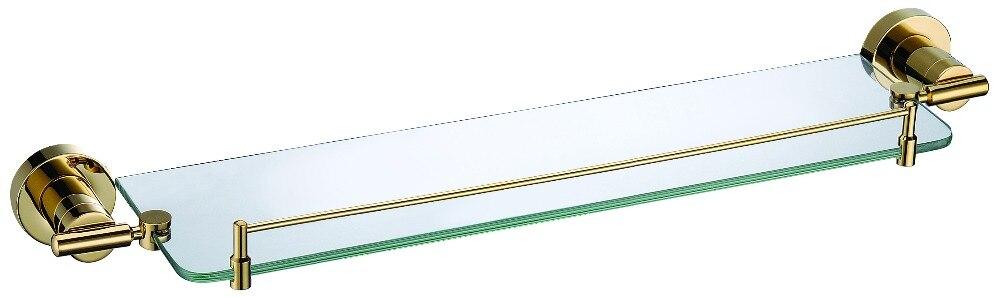 Free shipping Gold finish modern Luxurious design Round base single glass shelfFree shipping Gold finish modern Luxurious design Round base single glass shelf