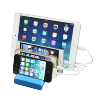 ユニバーサル多機能電話ホルダー米国プラグ4 usb充電器ドック充電デスクトップステーションスタンドブラケット充電用アプリ錠