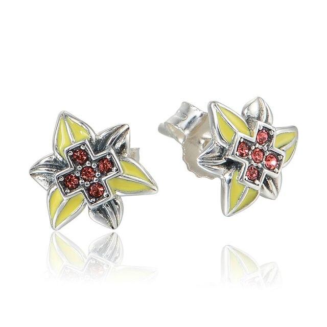 100% 925 Silver Earring Enamel Leaves Cross Crystal Sterling-Silver-Jewelry Stud Earrings for Women Charm Fashion Jewelry