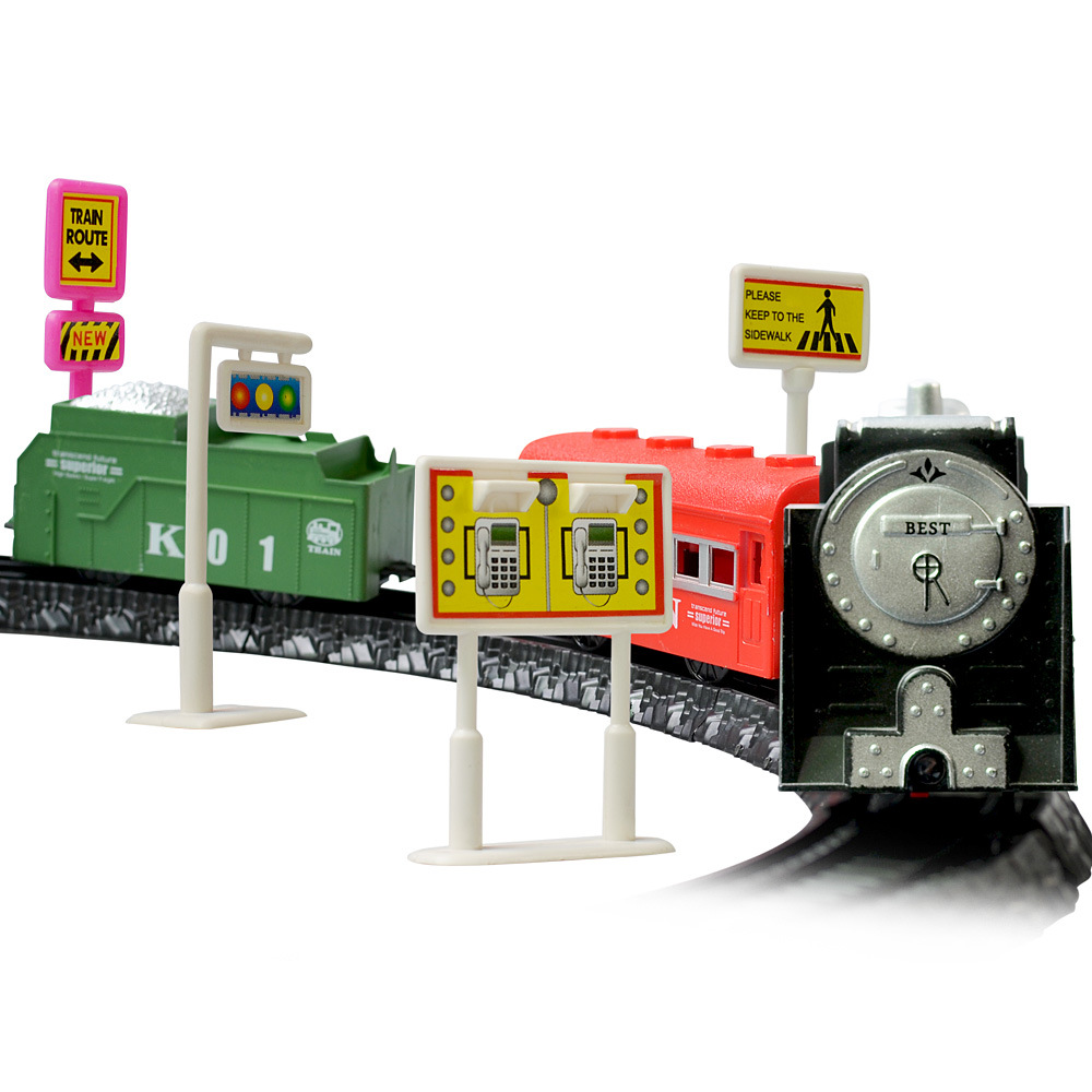 SHINEHENG Simulation Train Classical Steam Magic Train Assembling Railway with Music and Lights gifts for boys and girls