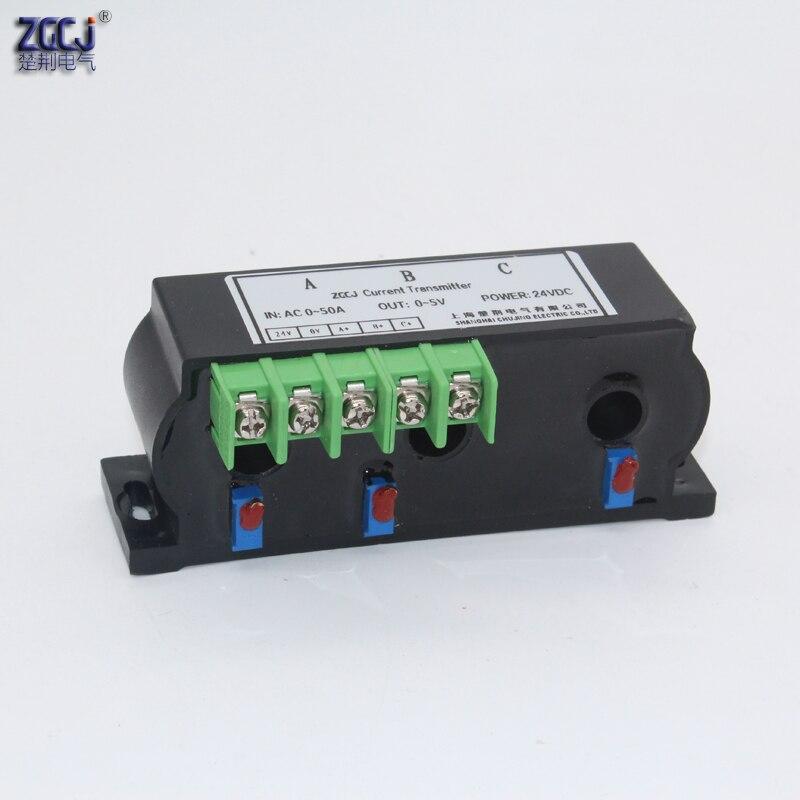 Transmetteur de courant à 3 phases à perforation AC 50A 100A 4-20mA, 0-20mA, 0-5 V, 0-10 V perforé capteur de signal à 3 ampères