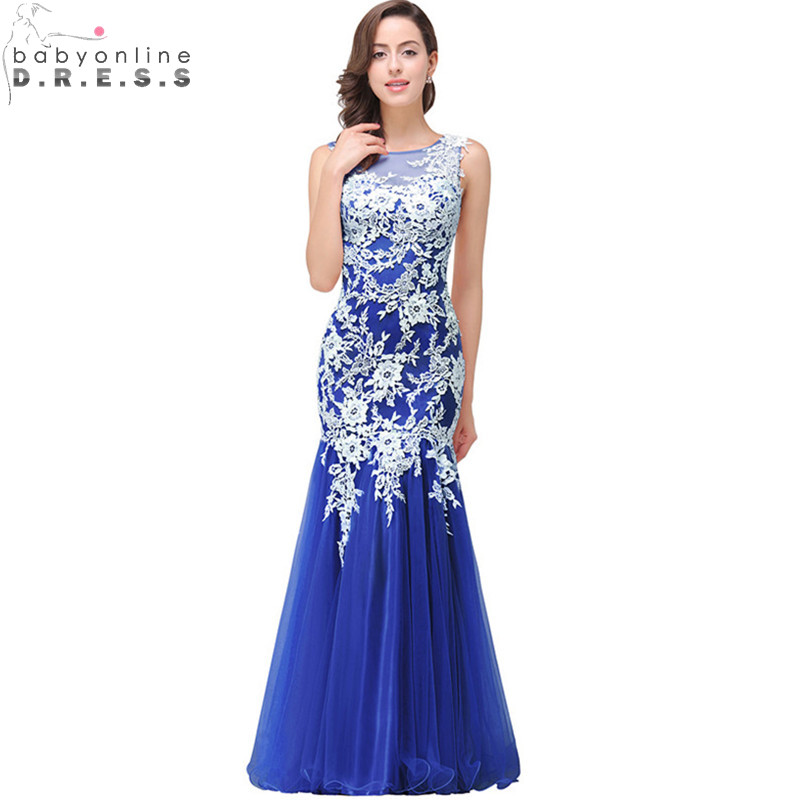 Robe de Soiree Longue Sexy Sheer Back Royal Blue Mermaid Lace Evening Dress Real Image Cheap