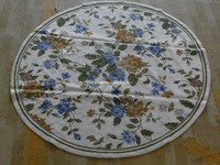 Free shipping 6'X6' Round Handmade Floral Blue Roses Wool Needlepoint Area Rug New Store Openning