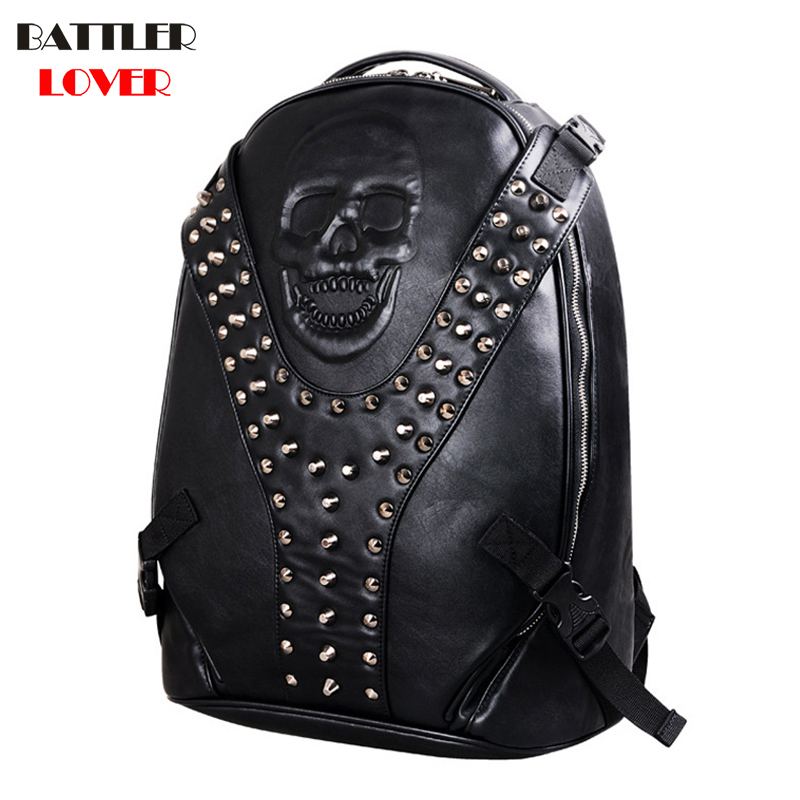 2018 Men Backpack Mochilas Males Skull Backpack Mens Bagpack Mochila Masculina Mans Hombre Motor Punk Biker High Quality PU Bags недорго, оригинальная цена