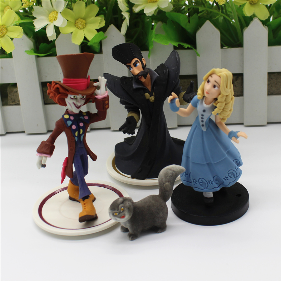 1pcs Alice in Wonderland White Rabbit Alice and Mad Hatter Cheshire Cat Articles Figurines Figure Toy Gift худи print bar rabbit of alice wonderland