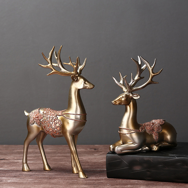 Artificial Reindeers Wedding Decoration Figurines Miniatures Resin Ornament Vintage Home Decor Accessories Valentines Day Gifts