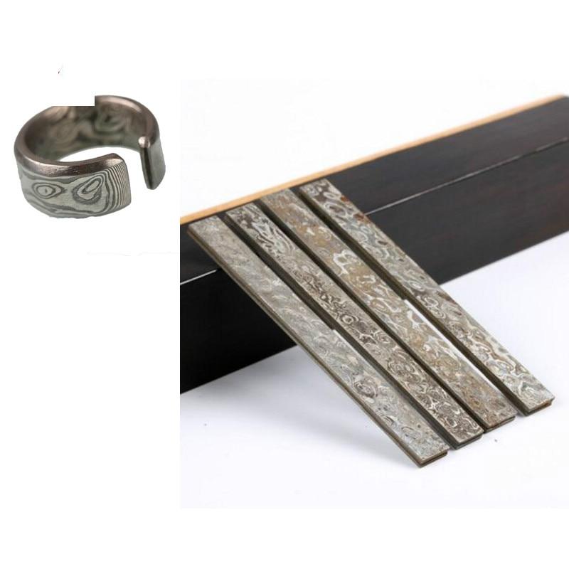 DIY Knife Damascus Steel Pattern Steel Ring Material 95*8*3mm