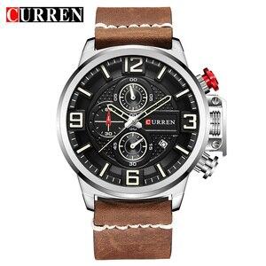 Image 2 - Neue herren Uhr CURREN Marke Luxus Mode Chronograph Quarz Sport Armbanduhr Hohe Qualität Lederband Datum Männlich Uhr