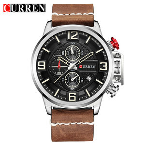 Image 2 - New Mens Watch CURREN Brand Luxury Fashion Chronograph Quartz Sports Wristwatch High Quality Leather Strap Date Male Clock