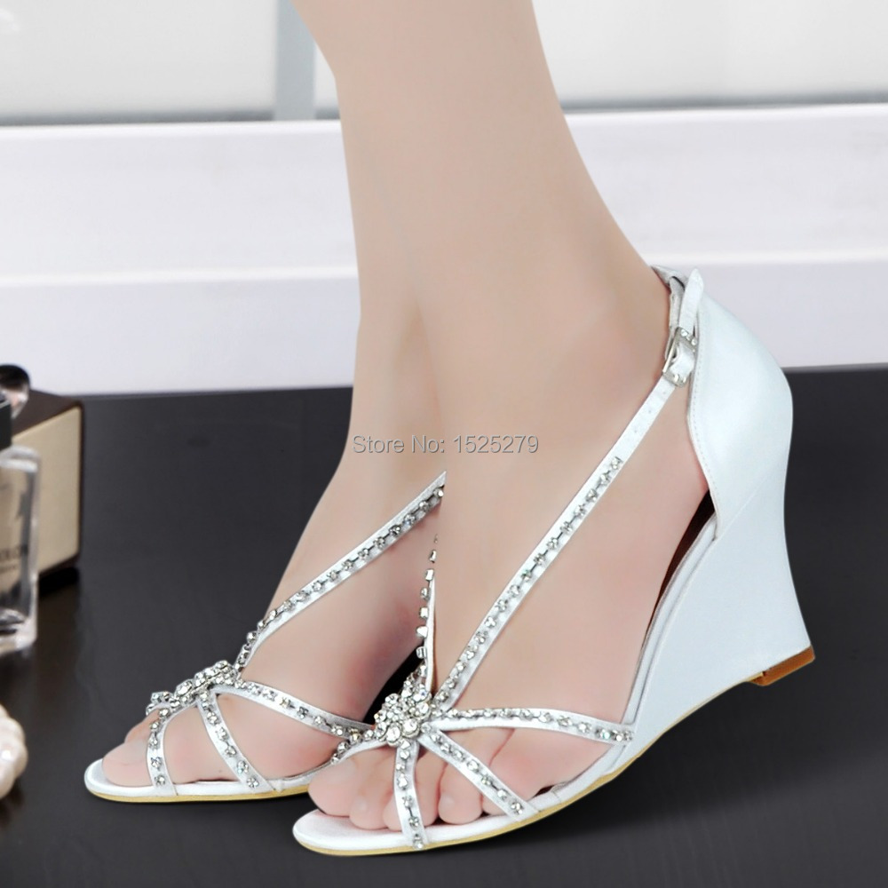 MC-023 White Ivory Women Shoes Bride Prom Party Wedge Heels Sandals Buckles Satin Straps Rhinestones Wedding Evening Dress Shoes