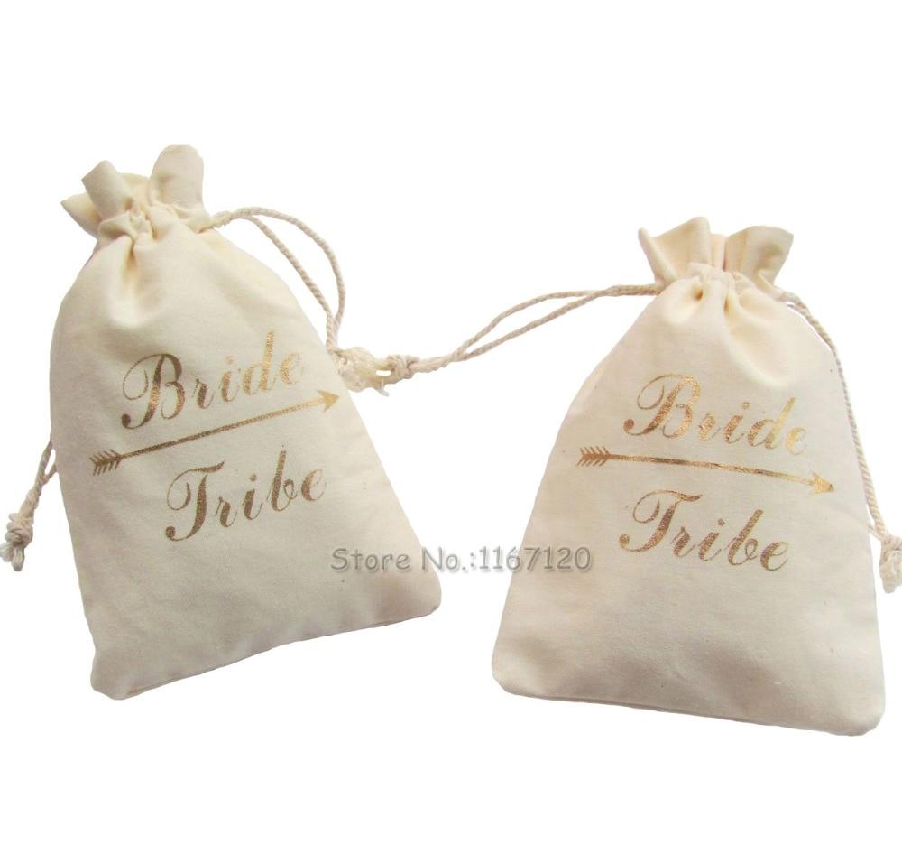 20pcs Gold Bride Tribe Unbleached Natural Cotton Muslin Bags ...