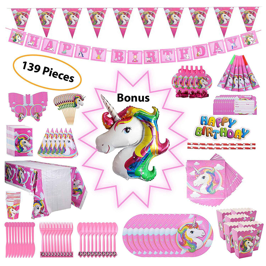 Festa Unicorn Decor Suit Children's Birthday Party Theme Decorations Kids Festive Flag Straw Kit Dream Party Decoration Supplies