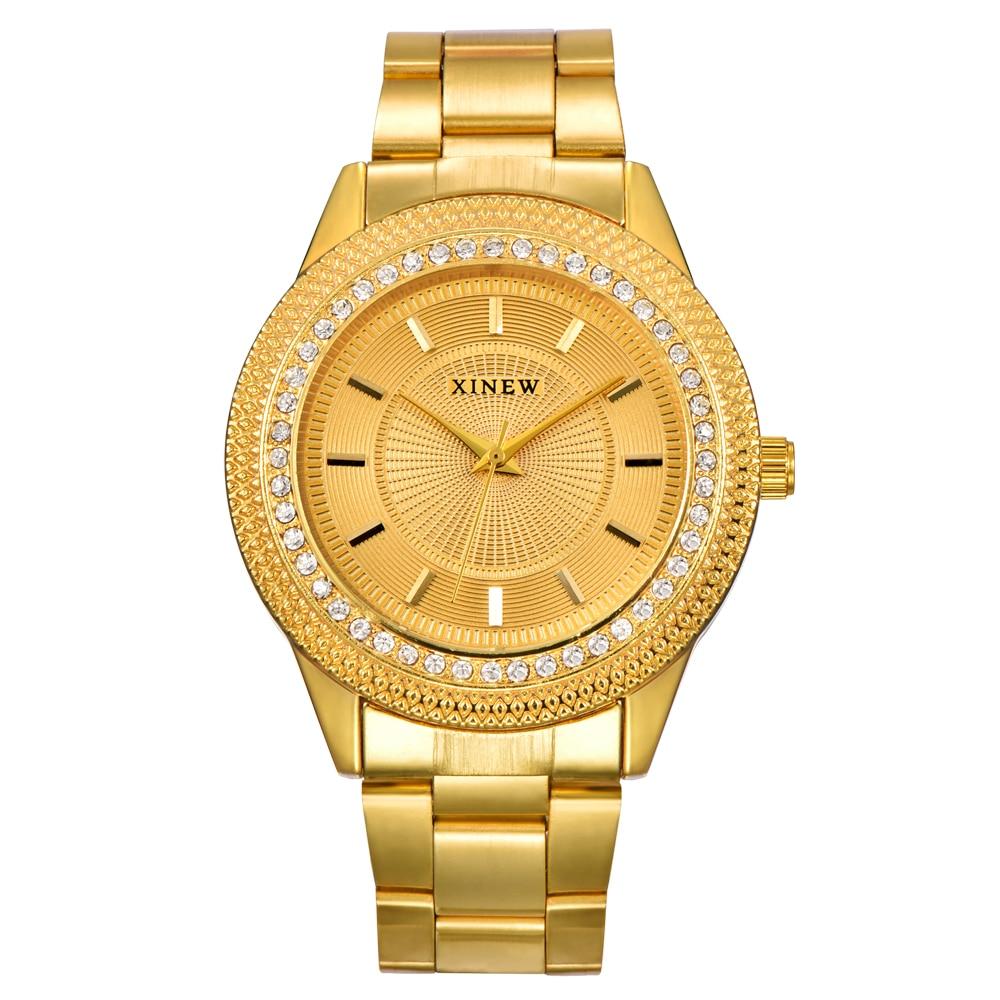2020 XINEW Luxury Gold Watches Men Women Full Steel Fashion Rhinestone Quartz Watch Relogio Masculino Femonino Luxe Original