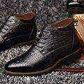 LuoDiRam Marca de Moda Crocodilo Homens Botas Estilo, russa Homens Ankle Boots, Super Quentes Homens Botas de Inverno, Sapatas Dos Homens de Super Quentes
