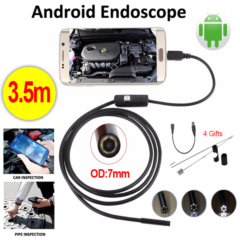 Antscope 7mm Endoscope 3.5M USB Android Endoscope Camera Car Pipe Inspection Micro USB Borescope Android phone Endoskop Camera 7mm lens mini usb android endoscope camera waterproof snake tube 2m inspection micro usb borescope android phone endoskop camera