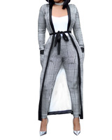 New Casual Women Set Printed Pants and Long Cardigan Two Piece sets with Belt Femme Wear B08JM843