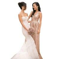Sparkly Champagne Gold Bridesmaid Dresses A-line V-neck Long Sequins vestidos de madrinha Dress to Party 2015