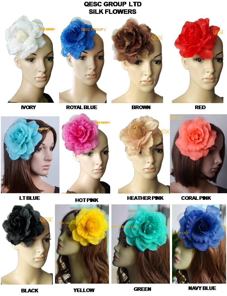 NEW FREE SHIPPING 16cm silk flower for sinamay hat sinamay fascinator and hair accessory with brooch