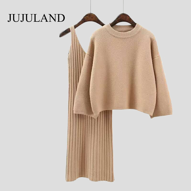 2018 Two Piece Set Knitted Dress Winter Sweater Suit for Women Set Three Quarter Pullover Wool Sweater Elastic Cashmere Suit