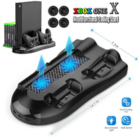 Vertical Stand for Xbox One X with Cooling Fans Dual Controller Charging Station3USB ports and Console Game Discs Storage Seat