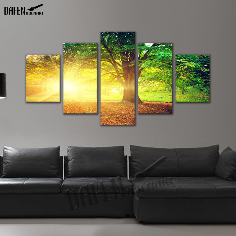 5 Panel Canvas Picture Golden Sunshine Forest Tree Landscape Painting Wall Art Canvas Print Home Decor Framed Ready to Hang