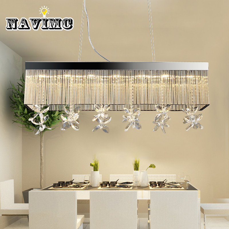 Modern Rectangular k9 Crystal Chandeliers Lighting for Dining Room Bedroom Living Room Pendant Lamp crystal flower pendant light modern lighting living room lamp bedroom lamp aisle lighting