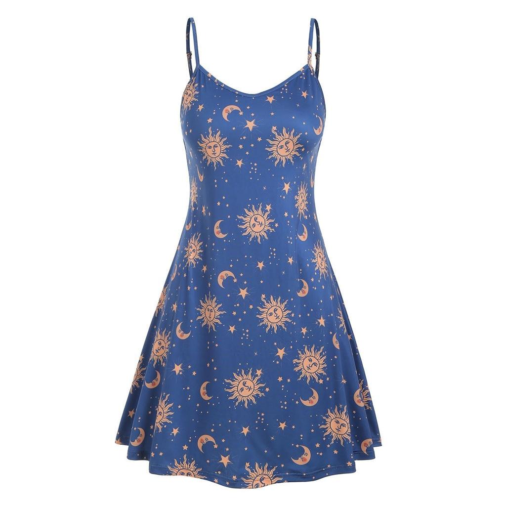 Novel Sun Moon Print Large Size Ladies Sling V-Neck Dress Summer Loose Casual Cool Sleeveless Backless Mini Dresses Plus Size