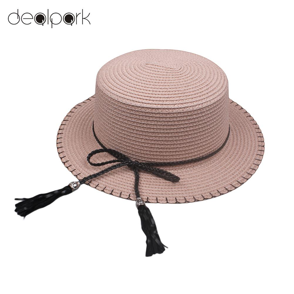 2019 New Elegant Women Sun Cap Straw Hat Boater Hat Wide Brim Bow Tassel Flat Summer Panama Beach Holiday Hat
