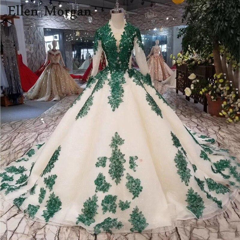 Блеск Ткань бальные платья свадебные 2019 богемный темно зеленый кружево бисером корсет суд Поезд одежда с длинным рукавом свадебные