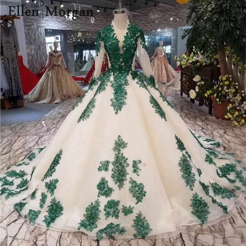 Glitter Fabric Ball Gowns Wedding Dresses 2019 Bohemian Dark Green